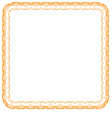 orange frame on white background vector image