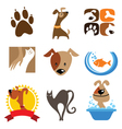 pet shop logo and icons vector image vector image