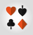 poker card suits heart club spade and diamond vector image