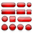 red glass buttons with metal frame collection of vector image vector image