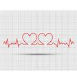 red heart beats cardiogram vector image vector image