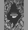 Seafood and fish design template hand drawn on