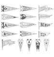 set adventure outdoors camping pennants vector image vector image