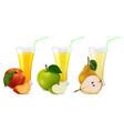 set of glasses with juice of peach apple and pear vector image