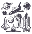 Set of vintage space elements vector image vector image