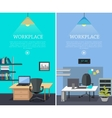 Set of Workplace Web Banners in Flat Design vector image vector image