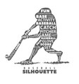 silhouette of baseball player on white background vector image vector image