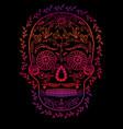 skull color gradient on black background symbol vector image vector image