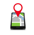 smartphone navigation icon and map with red marker vector image