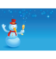 Snowman with wineglass on blue vector | Price: 1 Credit (USD $1)