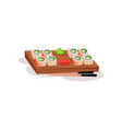 sushi rolls wasabi and ginger on wooden board and vector image vector image