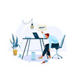 tired male office worker sitting on chair and vector image vector image