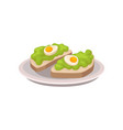 two tasty sandwiches with guacamole and boiled vector image