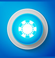 white casino chip icon isolated on blue background vector image