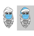 with hand drawn santa claus in medical mask
