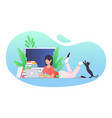 woman working at home girl with a laptop lies on vector image