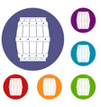 wooden barrel icons set vector image vector image
