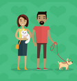 walking with pets concept in flat design vector image
