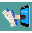Hand coming out of the smartphone with ticket vector image