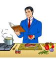 man in business suit cooking food pop art vector image