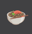 rice in bowl with fish salmon isolated vector image