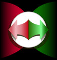 arrow red and green in a white circle on a black vector image vector image