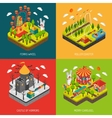 Attraction Park 4 Isometric Icons Square vector image vector image