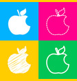bite apple sign four styles of icon on four color vector image vector image