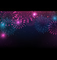bright colorful fireworks on night background vector image