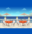 cafe with tables under umbrellas with sea views on vector image vector image