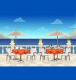 cafe with tables under umbrellas with sea views vector image vector image