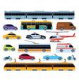 car transport set vehicles city transportation vector image vector image
