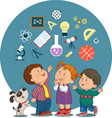 cartoon children with education icons vector image