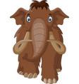 cartoon mammoth walking cute happy vector image vector image