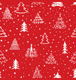 christmas tree snow winter forest pattern holiday vector image
