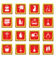cleaning tools icons set red square vector image vector image