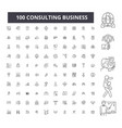 consulting business editable line icons 100 vector image vector image