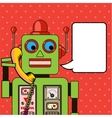 Cool Robot talking on the phone Pop art poster vector image