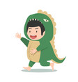 cute boy in dinosaur costume vector image vector image