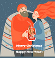 cute couple drinks mulled wine on a cold winter vector image vector image