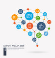 digital mesh smart brain idea futuristic interact vector image