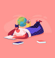 education concept girl lying on floor reading vector image