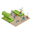 family outdoor activity happy family concept vector image