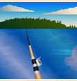 fishing rod with a reel bite fishing vector image vector image