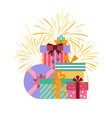 gift boxes groupe in flat style vector image