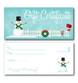 gift certificate christmas holidays design vector image