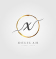 gold elegant initial letter type x vector image vector image