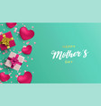 happy mothers day card of pink gifts and hearts vector image vector image