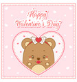 happy valentines day cute bateddy bear drawing vector image vector image