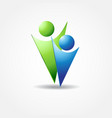 icon of two people in blue and green colors vector image
